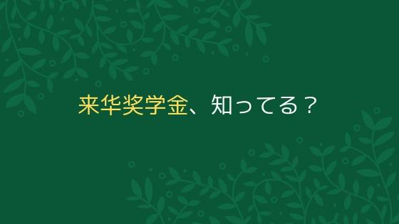 中国政府奨学金に不合格でも大丈夫!留学生必見の「来華华奨学金」