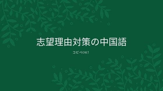 志望理由対策の面接用中国語