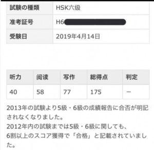4月のHSKの試験結果