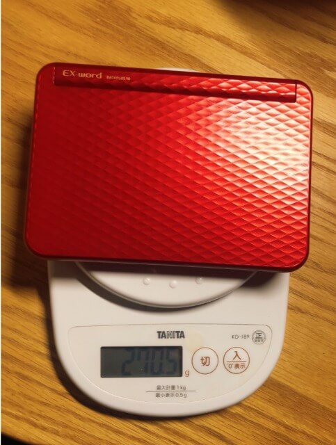 Casio(カシオ)Exwrd(エクスワード)ED-Z7300電子辞書中国語モデルの重さ