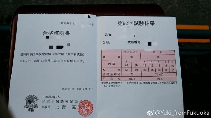 中国語検定2級証明書